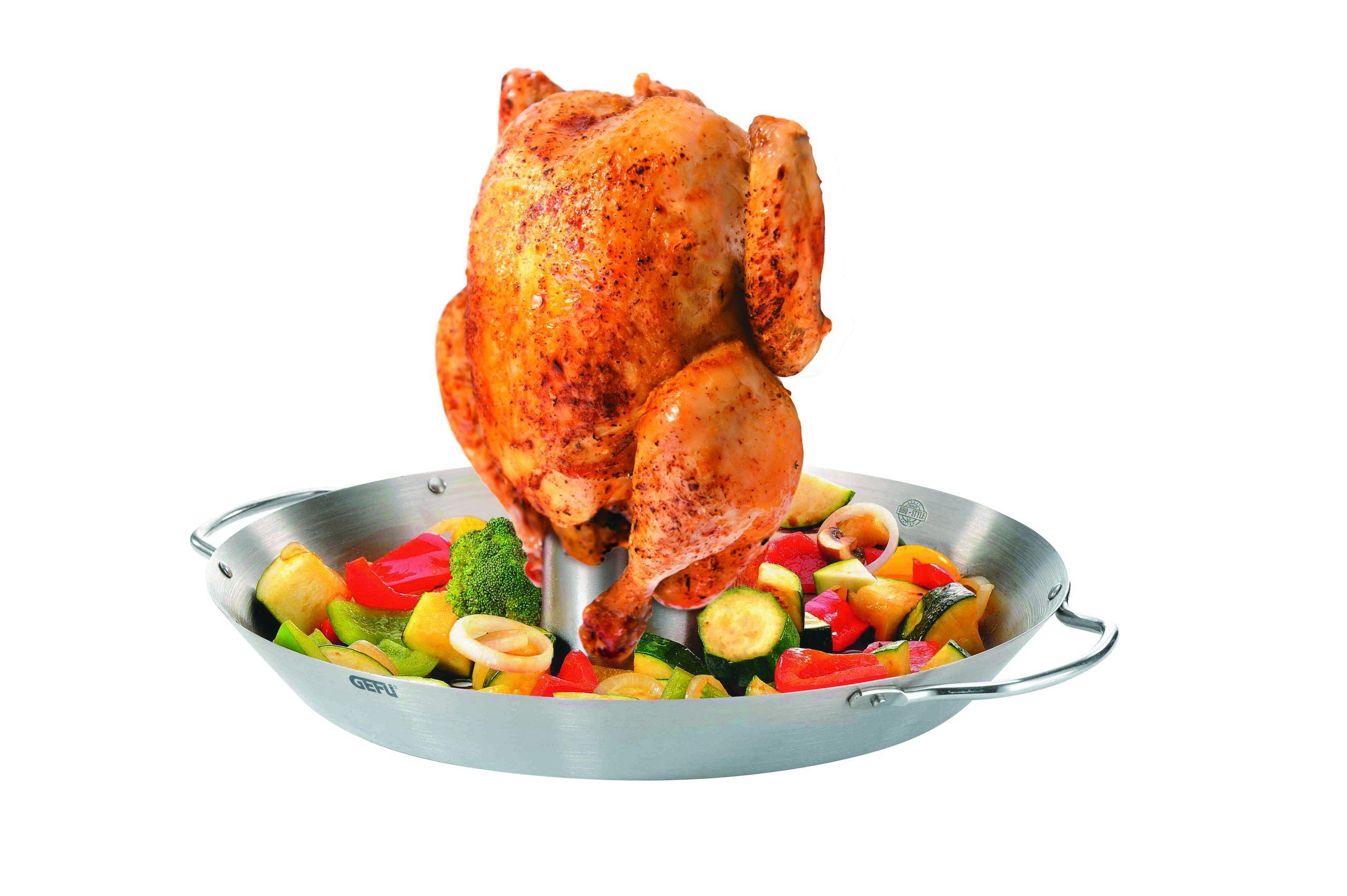 GEFU Сет прибор за печене на пиле + уок за зеленчуци BBQ