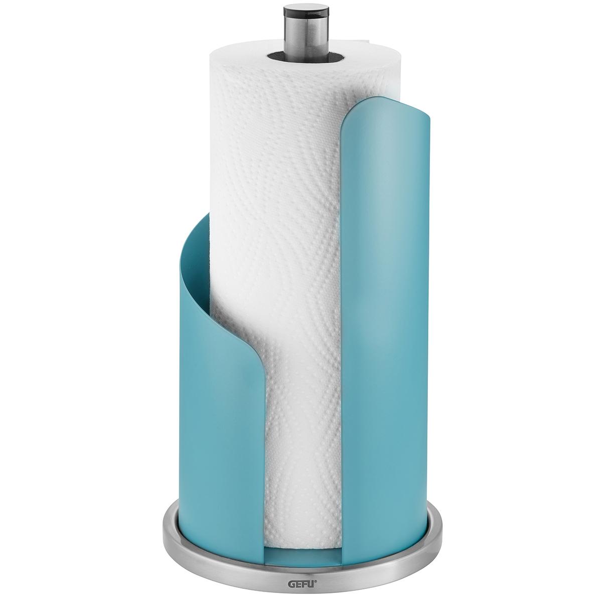 """GEFU Стоманена стойка за кухненска ролка """"CURVE"""" - цвят лазурно синьо"""